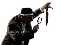 Detective man criminals investigations  silhouettes Stock Photo