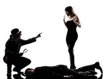 Detective man criminals investigations  silhouettes. One detective men criminals investigations  investigating crime in silhouettes on white background Royalty Free Stock Photo