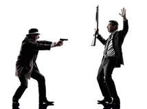 Detective man criminals investigations  silhouettes Royalty Free Stock Image