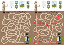 Detective maze. For kids with a solution stock illustration