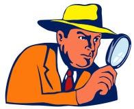Detective met het overdrijven glas Stock Fotografie