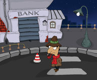The detective in a night city. Cartoon Stock Photography