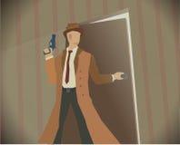 Detective noir stijl gekleurde illustratie Stock Foto