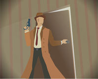 Detective noir style colored illustration. Detective opening a door while holding revolver. Noir style colored illustration. Eps 10 stock vector Stock Photo
