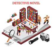 Detective Novel Design Concept. With interior of reading room of library and elements of detective plot isometric vector illustration Stock Image