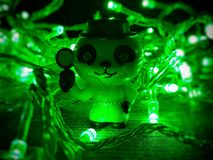Detective panda at work. Macro shots stock photo