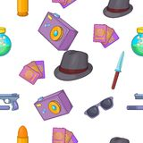 Detective pattern, cartoon style Royalty Free Stock Photos