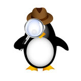 Detective penguin with magnifying Stock Photo