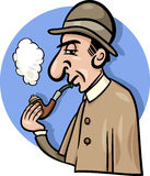 Detective with pipe cartoon illustration Royalty Free Stock Photo