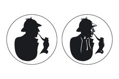 Detective pipe smoker silhouette. Sherlock Holmes Royalty Free Stock Image