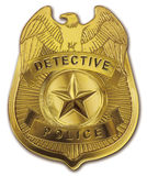 Detective Police Badge. Shiny gold metal detective rank police officer badge. CLIPPING PATH included stock illustration