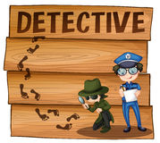 Detective and policeman working together Royalty Free Stock Image
