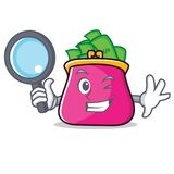 Detective purse character cartoon style. Vector illustration Royalty Free Stock Photography