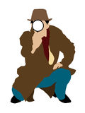 Detective que mira a través de la lente stock de ilustración