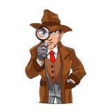 Detective que mira a través de la lupa Imagen de archivo libre de regalías
