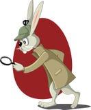 Detective Rabbit met Vergrootglas Vectorbeeldverhaal Royalty-vrije Stock Afbeelding