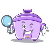 Detective rice cooker character cartoon Royalty Free Stock Photo
