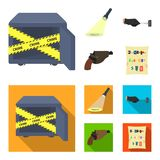 The detective`s flashlight illuminates the footprint, the criminal`s hand with the master key, a pistol in the holster. The kidnapper`s claim. Crime and stock illustration