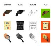 The detective`s flashlight illuminates the footprint, the criminal`s hand with the master key, a pistol in the holster. The kidnapper`s claim. Crime and royalty free illustration