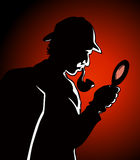 Detective Search. A detective investigates and searches for clues at a crime scene