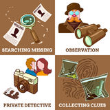 Detective Service Compositions. With private eye search for missings observation and collecting clues isolated vector illustration Royalty Free Stock Photography