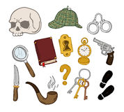 Detective set. Detective hand-drawn set. Detective hand-drawn set. Isolated objects on a white background Royalty Free Stock Photography