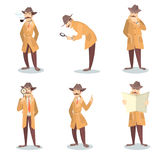 Detective set. Man in coat and hat with magnifying glass investigating vector illustration