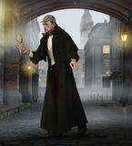 Detective Sherlock Holmes in old London stock illustration