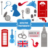 Detective Sherlock Party set. Photobooth props - silhouettes, pipes, mask, hat - in Stock Photo