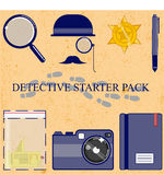 Detective. Simple clean Detective starter pack . including iconic hat , sun glasses, and moustache, magnify glass, Badge,pen, evidence, camera,pen and note Royalty Free Stock Photo