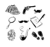 Detective sketch icons. Royalty Free Stock Photo