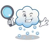 Detective snow cloud character cartoon Royalty Free Stock Photo