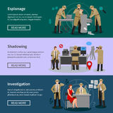 Detective Spy Horizontal Banners. With agents in various professional situations in flat style vector illustration stock illustration
