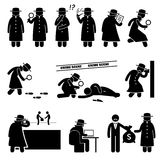 Detective Spy Private Investigator Cliparts. A detective is searching, thinking, smoking, reading document, and searching for clue of a crime. This secret agent Royalty Free Stock Image