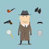 Detective and spy profession icons Royalty Free Stock Images