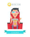 Detective Story. Man in Cinema Seat Entertainment Stock Images