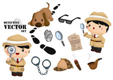 Detective vector set. A vector of  detective and his tool Stock Photos