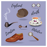 Detective vector set. Retro accessories, hand drawing Stock Photography