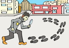 Detective on the way. Very High quality hand drawing illustration. The main idea of this picture is to show the detective who is exploring foot paths. Picture Royalty Free Stock Photography