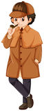 Detective wearing brown overcoat. Illustration Stock Photos