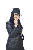 Detective woman with magnifying glass royalty free stock photos