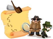 Detectives die aanwijzingen zoeken royalty-vrije illustratie