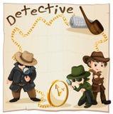 Detectives die aanwijzingen zoeken stock illustratie