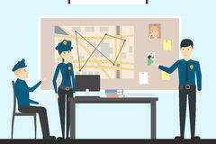 Detectives in police. Investigation, solution and detection. Investigating the crime royalty free illustration