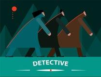 Detectives que investigan en la noche ilustración del vector