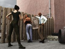 Detectives question suspect. Male and female plan clothes police officers question female suspect stood against fence in derelict alley with hands in plain view Royalty Free Stock Photos