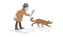 Detektiv mit Lupen- und Verfolgerhundejagdabdrücken Stockbilder