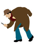 Detektiv mit Vergrößerungsglas Stockbild