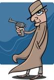 Detektiv- oder Gangsterkarikaturillustration Stockbild