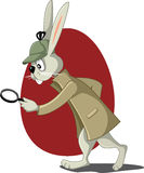 Detektiv Rabbit mit Lupen-Vektor-Karikatur Lizenzfreies Stockbild